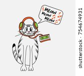 Stock vector cat listening to music 754674931
