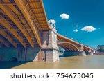 margaret bridge of budapest... | Shutterstock . vector #754675045
