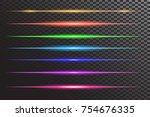 vector set of neon laser glow... | Shutterstock .eps vector #754676335