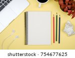 modern yellow office desk table ... | Shutterstock . vector #754677625