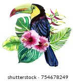 set of prints of exotic leaves... | Shutterstock . vector #754678249
