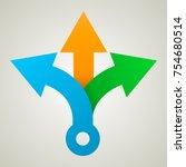 three way direction arrows.... | Shutterstock .eps vector #754680514