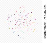 colorful confetti and ribbon... | Shutterstock .eps vector #754687621