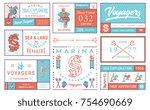 colored vector sea badges vol.... | Shutterstock .eps vector #754690669