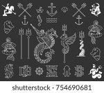 vector white on black marina... | Shutterstock .eps vector #754690681