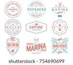 colored vector sea badges vol....   Shutterstock .eps vector #754690699