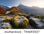 beautiful landscape of himalaya ... | Shutterstock . vector #754693537