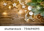 christmas card with branch fir... | Shutterstock . vector #754694095