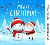 merry christmas  santa claus... | Shutterstock .eps vector #754697419