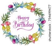 wildflower thistle flower... | Shutterstock . vector #754699477