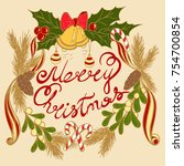 christmas wreath in style free... | Shutterstock .eps vector #754700854