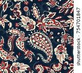paisley vector seamless pattern.... | Shutterstock .eps vector #754701847