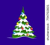 christmas tree with christmas... | Shutterstock .eps vector #754702831