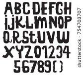 vintage font doodle alphabet set | Shutterstock .eps vector #754703707