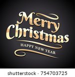 merry christmas typography.... | Shutterstock .eps vector #754703725