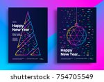 new year greeting card design... | Shutterstock .eps vector #754705549