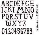 vintage font doodle alphabet set | Shutterstock .eps vector #754706011