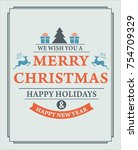 christmas card with christmas.... | Shutterstock .eps vector #754709329