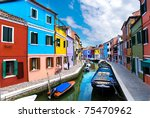 Venice  Burano Island Canal ...