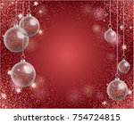 holiday greeting card with red... | Shutterstock .eps vector #754724815