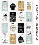 set of creative 16 journaling... | Shutterstock .eps vector #754725415
