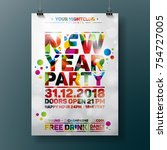 new year party celebration... | Shutterstock .eps vector #754727005