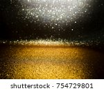 gold glitter vintage lights... | Shutterstock . vector #754729801