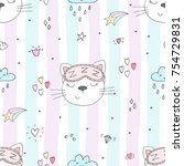 seamless pattern with cute... | Shutterstock .eps vector #754729831