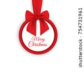 round banner with red ribbon... | Shutterstock .eps vector #754731961