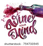 a bottle of red wine and... | Shutterstock . vector #754733545