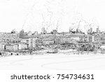 environmental problem of... | Shutterstock . vector #754734631