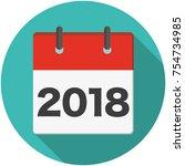2018 calendar flat icon | Shutterstock .eps vector #754734985