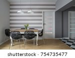 modern dining room with wooden... | Shutterstock . vector #754735477