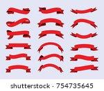 vector red ribbons.ribbon... | Shutterstock .eps vector #754735645