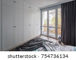 modern bedroom with big  white... | Shutterstock . vector #754736134