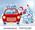 christmas card with santa claus ... | Shutterstock . vector #754741369