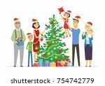 happy family decorates...   Shutterstock .eps vector #754742779
