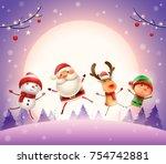 merry christmas  happy... | Shutterstock .eps vector #754742881