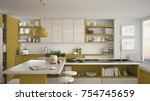 modern wooden kitchen with... | Shutterstock . vector #754745659