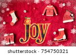 word joy and christmas fashion... | Shutterstock . vector #754750321