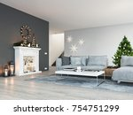 living room with fireplace in... | Shutterstock . vector #754751299