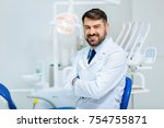 healthy smile. positive bearded ... | Shutterstock . vector #754755871