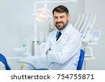 healthy smile. positive bearded ... | Shutterstock . vector #754755871