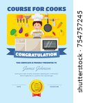 cute children cooking course... | Shutterstock .eps vector #754757245