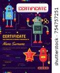 cute children robotic class... | Shutterstock .eps vector #754757251