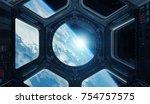 window view of planet earth...   Shutterstock . vector #754757575