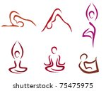 Постер, плакат: Yoga poses symbols