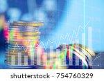 double exposure of stacks of... | Shutterstock . vector #754760329