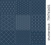 sashiko seamless indigo dye... | Shutterstock .eps vector #754761631