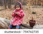 little girl in autumn forest...   Shutterstock . vector #754762735